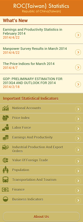 Index of 'ROC(Taiwan) Statistics' APP